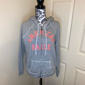 American Eagle Gray and Pink Zipper Hoodie